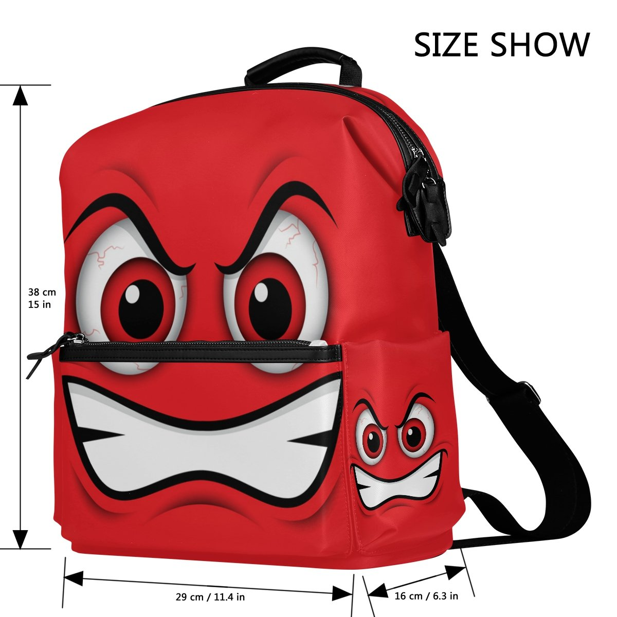 Amazon.com | LORVIES Emoji Red Mad Emoticon School Rucksack Travel Backpack | Backpacks