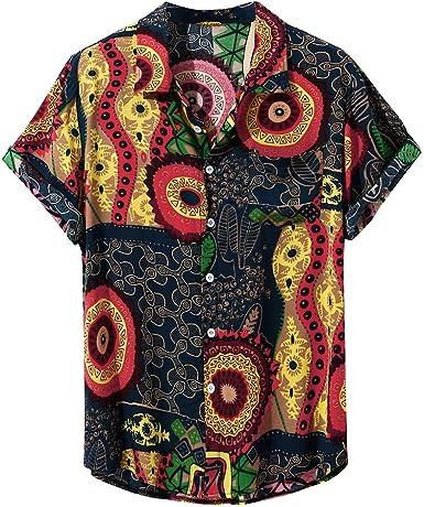 CAOQAO- Camisa Hombre Hawaiana Verano Hawaianas Manga Corta Diferentes Botones Casuales Camisa: Amazon.es: Ropa y accesorios