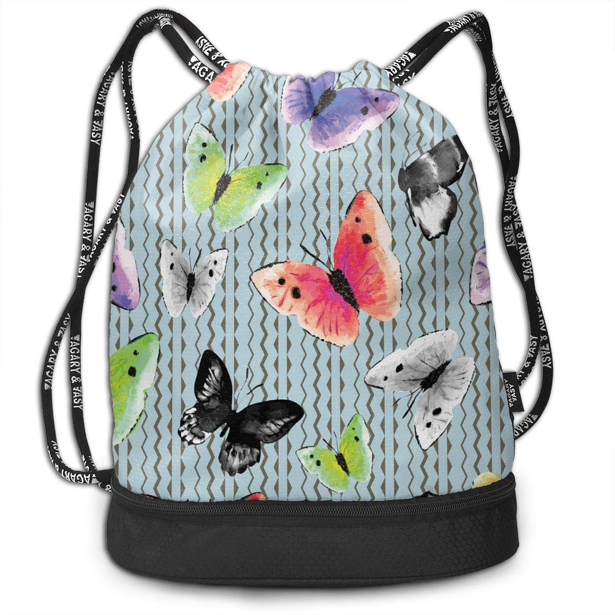 Watercolor Monochrome and Multicolored Butterflies Fashion Outdoor Shopping Canvas Backpack Bundle Pocket Backpack Rope-Pulling Bag Sports Bag for Fitness Shopping Yoga