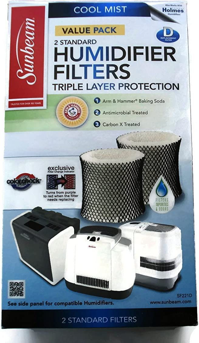 Sunbeam Cool Mist Humidifier Filter Type D (SF221)(Value Pack2 Filters In Box)