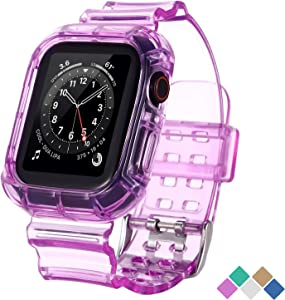 POHNUI Bands Compatible with Apple Watch Bands 38mm 40mm 42mm 44mm Women Men, Clear Band with Bumper Case, Soft Shockproof Band Strap for Apple iWatch Series SE/6/5/4/3/2/1(Purple 38/40mm)