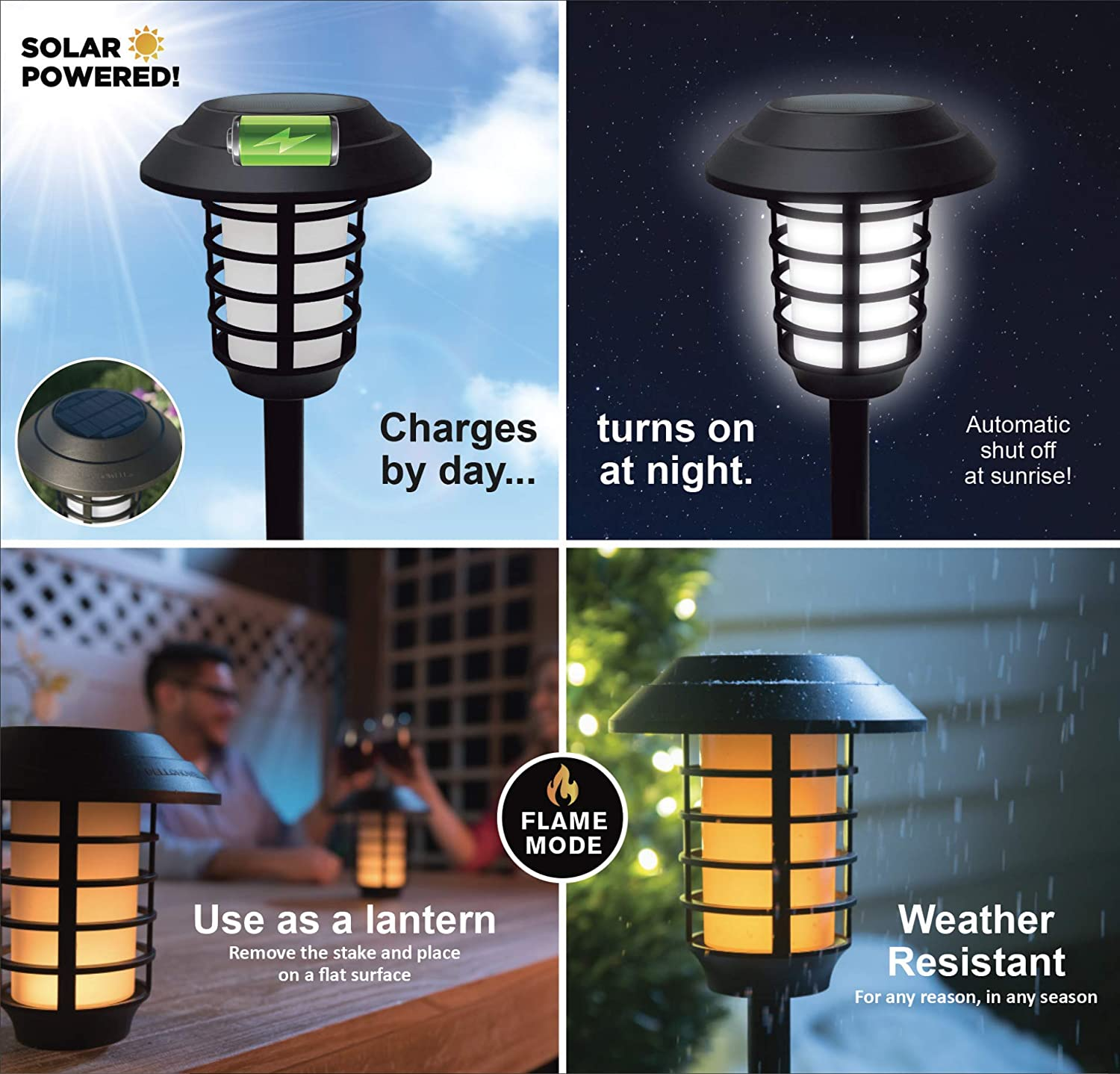 4 Pack Howell 2905 Smart Pathway Lights 2-in-1 XL Bright White /& Flickering Flame Solar Torches Waterproof Bell Black