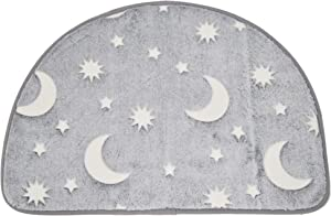 HOME-X Glow-in-The-Dark Floor Mat, Half-Round Mat for Bathroom, Laundry Room, or Powder Room, Glow-in-The-Dark Moons and Stars, 23