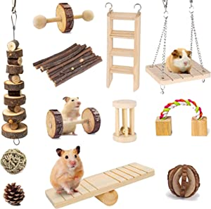 Suwikeke 12 PCS Hamster Chew Toys, Natural Wooden Dumbells Exercise Bell Roller, Chewing and Playing Exercise Teeth Care Molar Small Pets Accessories for Chinchillas Guinea Pigs Gerbils Bunnies Rats