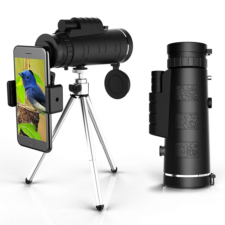 Telescopio Monocular Impermeable Telescopio Monocular para Movil con tr/ípode y Adaptador para Smartphone Monoculares para Observaci/ón de Las Aves Camping y Concierto