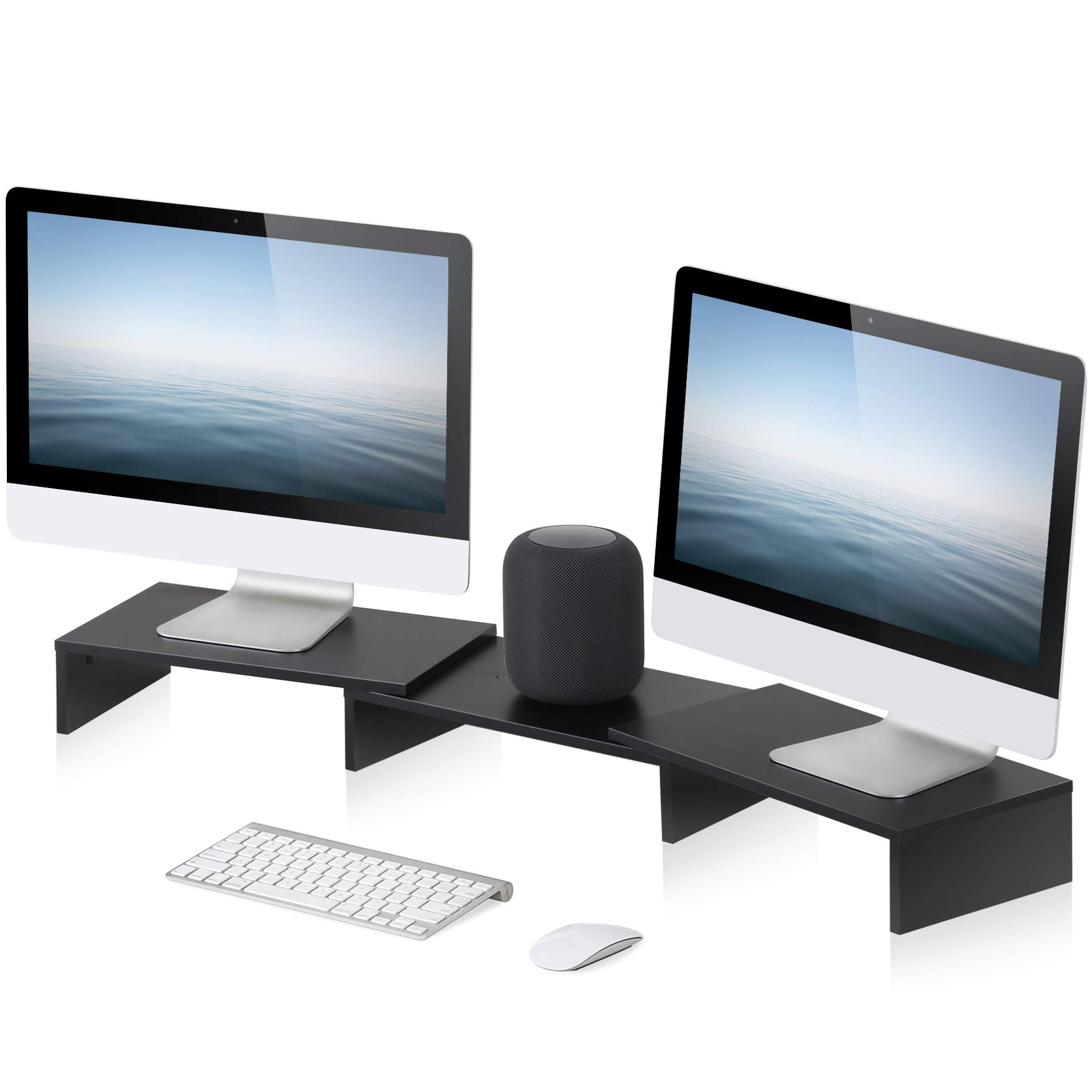 FITUEYES 3 Shelf Monitor Stand Riser with Adjustable Length and Angle,DT108001WB by FITUEYES