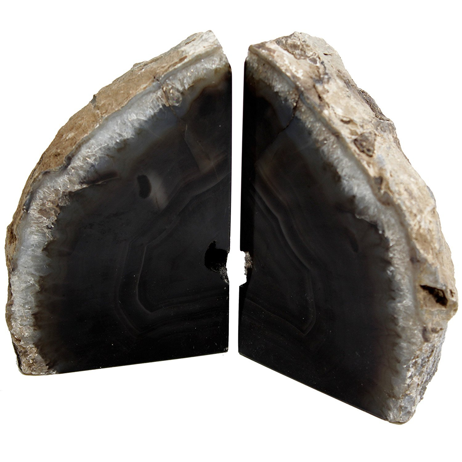 DIA Sold As Shown: Black Agate Bookends Mid Size (B1) by LE