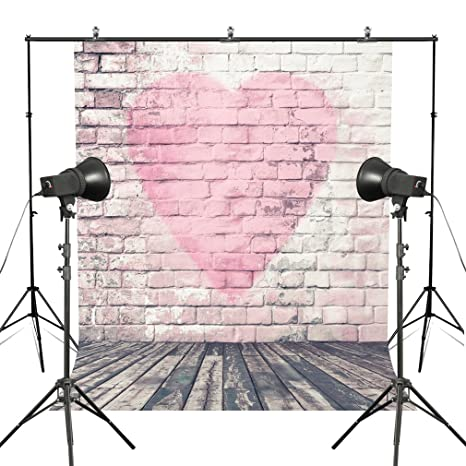 MUEEU Valentine's Day Brick Wall Backdrops Pink Heart Shape Photo Lovers  Wedding Photography Backgrounds Vinyl Printed Wooden Floor Studio  Props-Pink