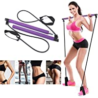 Exercise Resistance Band Yoga Pilates Bar Kit Portable Pilates Stick Muscle Toning Bar Home Gym Pilates with Foot Loop…