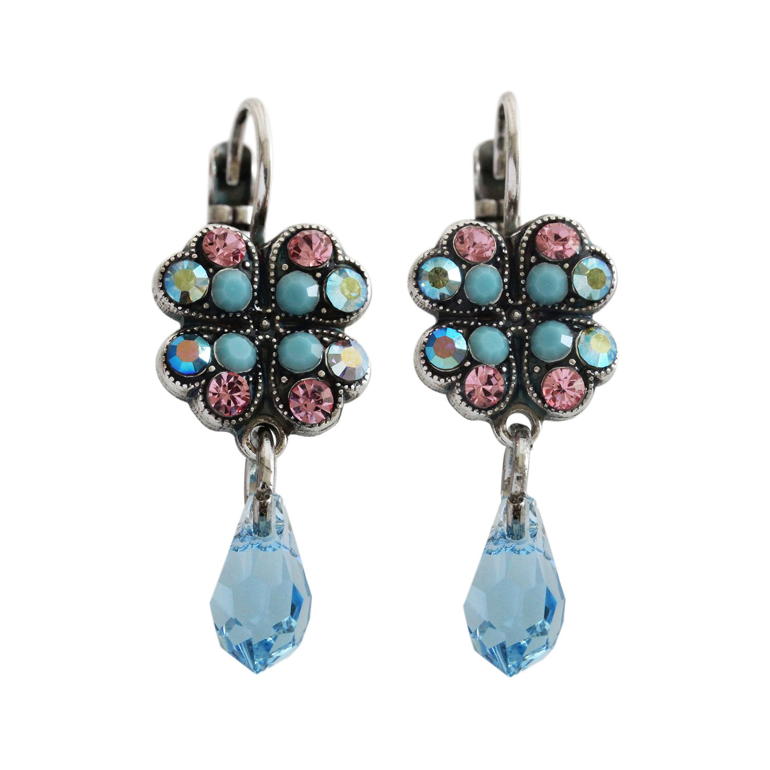 Mariana Summer Fun Silvertone Clover Dangle Drop Crystal Earrings, Pink Blue Colorful 1040/3 3711