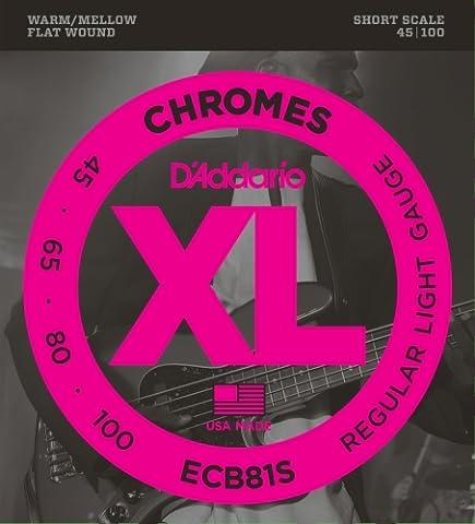 D'Addario ECB81S Chromes Bass Guitar Strings, Light, 45-100, Short Scale (Flat Bass Guitar Strings)
