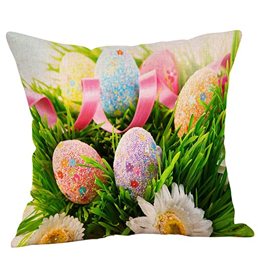 BBestseller Fundas de cojín de Lino Pascua,Super Suave Colorear Huevo Imprimiendo Cojines Sofa Almohadas IKEA Decorativo (H)