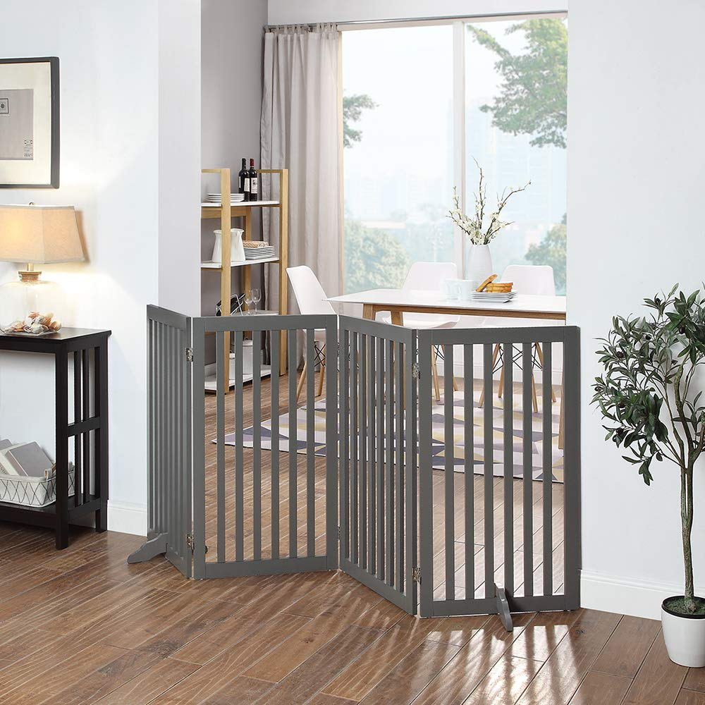 unipaws Freestanding Wooden Dog Gate, Foldable Pet Gate with 2PCS Support Feet Dog Barrier Indoor Pet Gate Panels for Stairs, Gray (20'' Wx36 H, 4 Panels) by unipaws (Image #3)