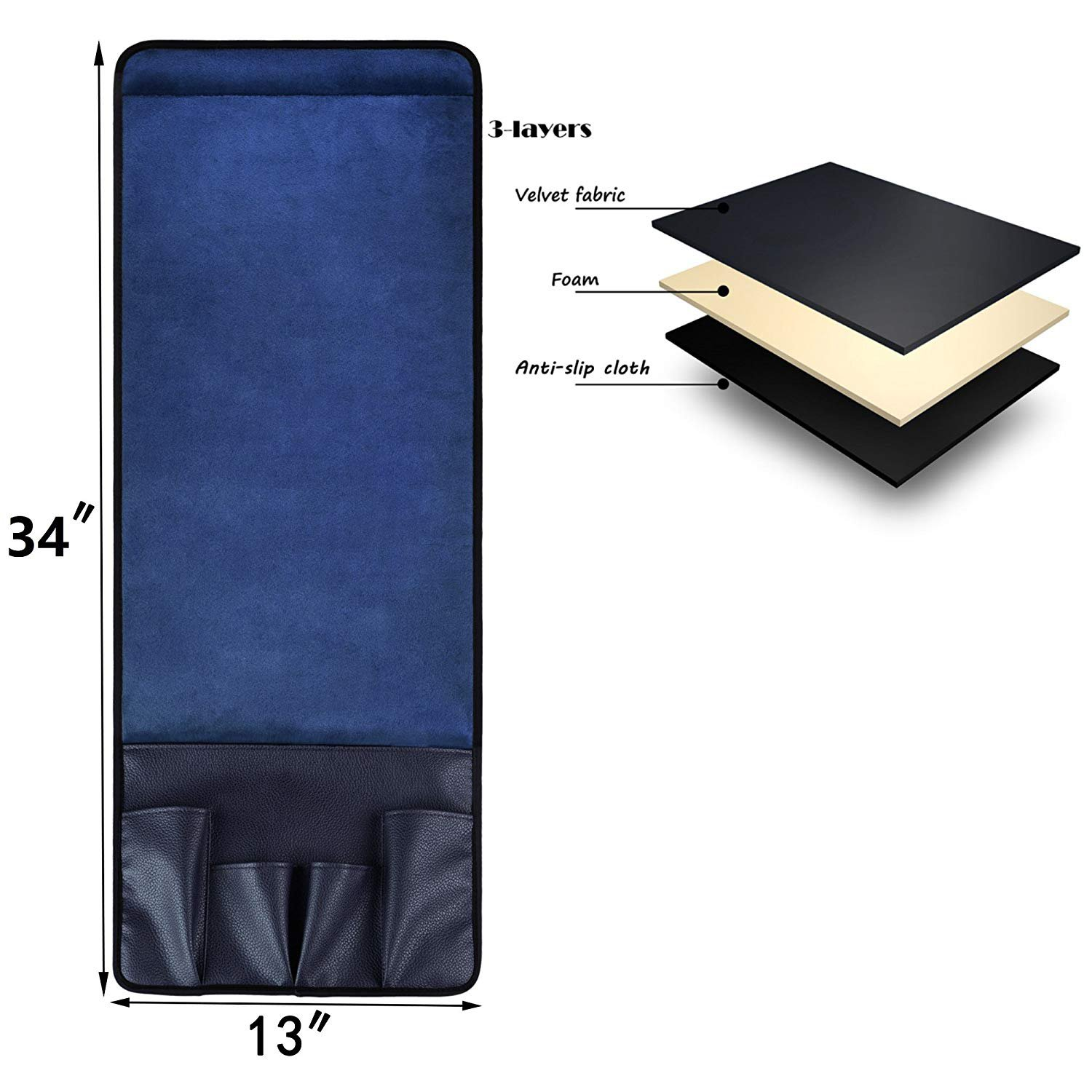 Magazines Pencil or TV Remote Control Holder Wakaka Velvet Non-Slip Epoxy Sofa Couch Chair Armrest Soft Caddy Organizer Cell Phones Books Brown