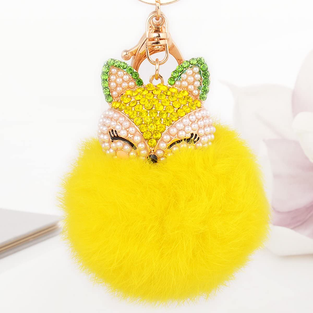 Cute Ball Pom Pom Keychain Women Bag Car Key Chain Charm Pendant Black