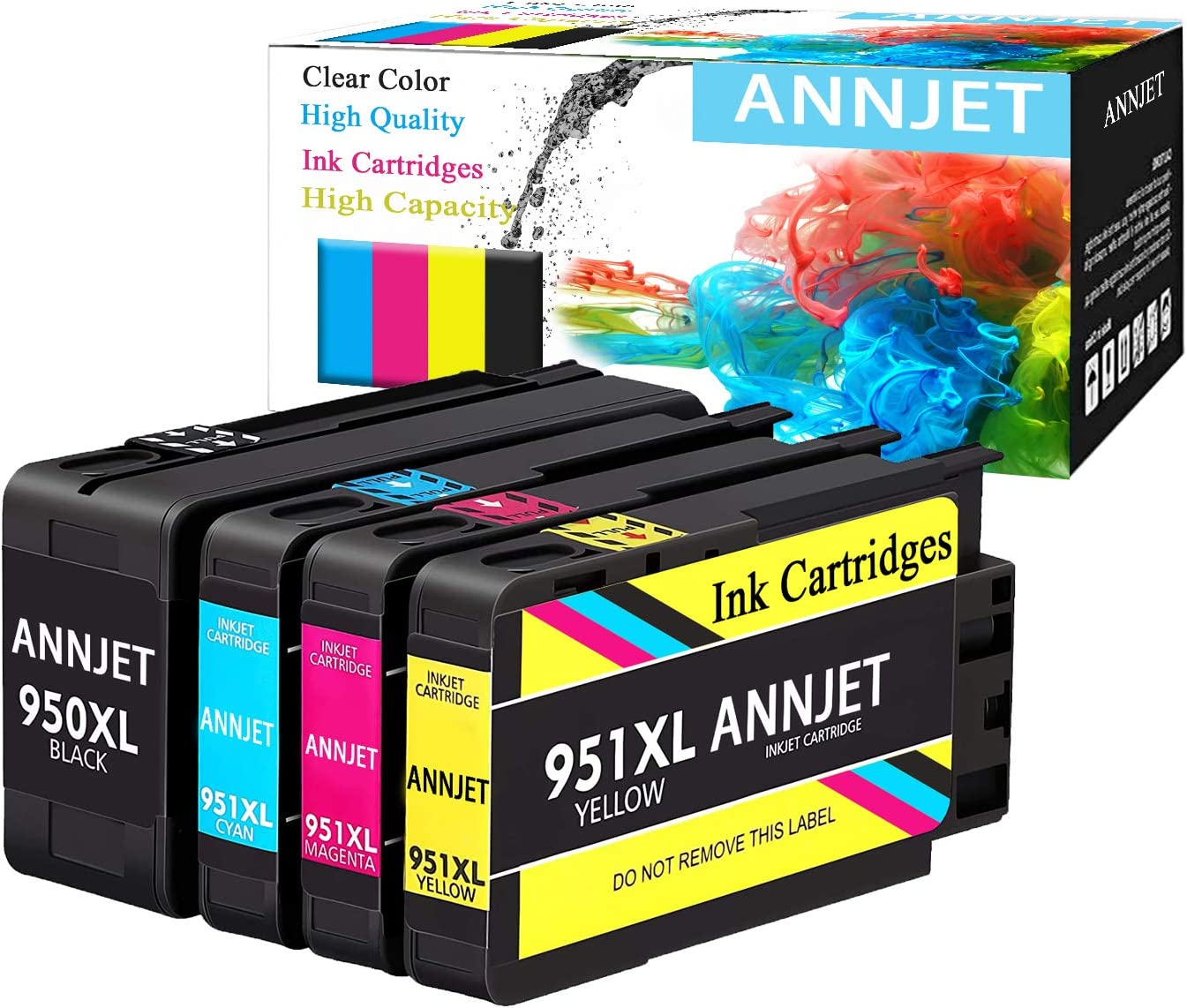 ANNJET Compatible Ink Cartridge Replacement for HP 950XL 951XL 950 951 Ink Cartridge Works with HP OfficeJet Pro 8600 8610 8620 8100 8630 8660 8640 8615 8625 276DW 251DW 271DW(4 Pack)