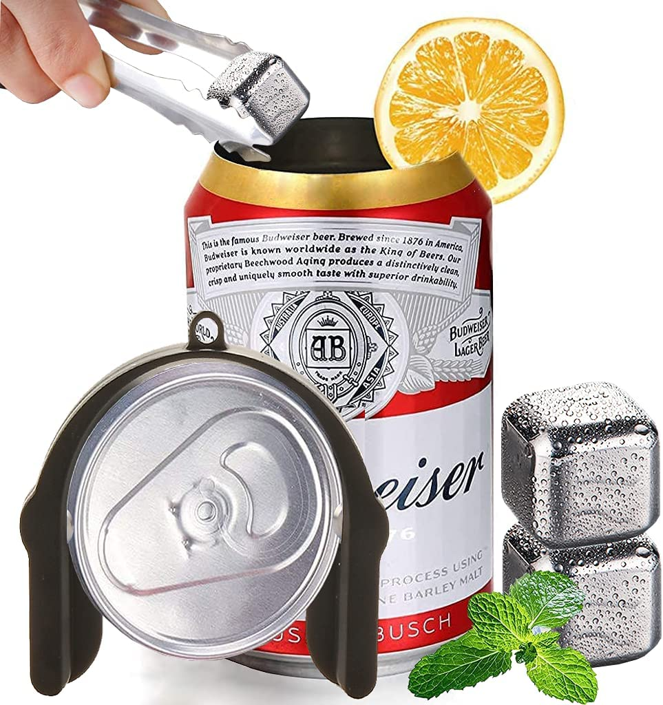 ASOONYUM Topless Beer Can Opener, Manual Go Drink Can Top Remover Smooth Edge for Soda Travel Camping Kitchen, Small Portable Hand Held Easy Can Opener with 2 Stainless Steel Ice Cube, Black