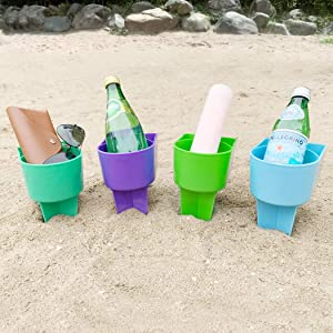 Home Queen Beach Cup Holder with Pocket, Multifunctional Sand Cup Holder for Beverage Phone Sunglasses Key, Beach Accessory Drink Sand Coaster, Set of 4 (Blue, Teal, Purple and Green)