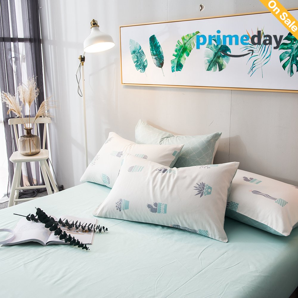 HMTOP Cactus Bed Pillowcases of 2 Queen Twin Green Kids Bedroom Pillow Cover for Kids Girls Women Lightweight Soft Comfortable Durable Bedding(2 Pieces,20''x26'')