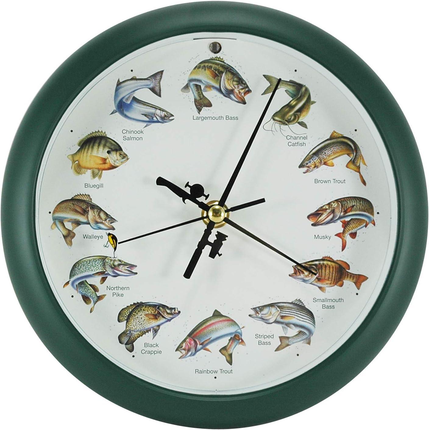 Mark Feldstein Splashing Gamefish Hourly Fishing Sounds Wall/Desk Clock, 8 Inch