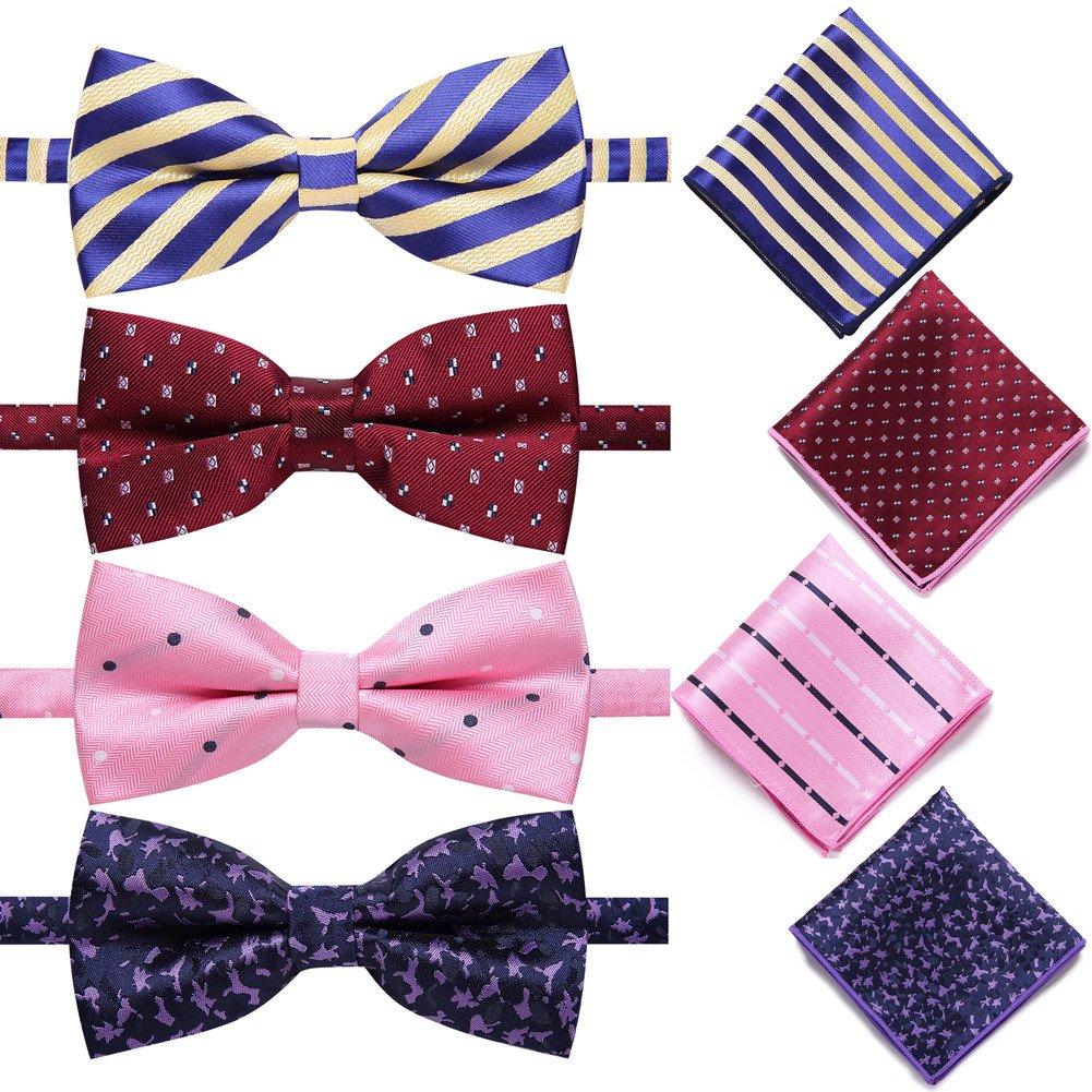 AUSKY 4 Pack Elegant Adjustable Pre-Tied Bow Tie Pocket Square Handkerchief set for Men Boys (4PACKS B)