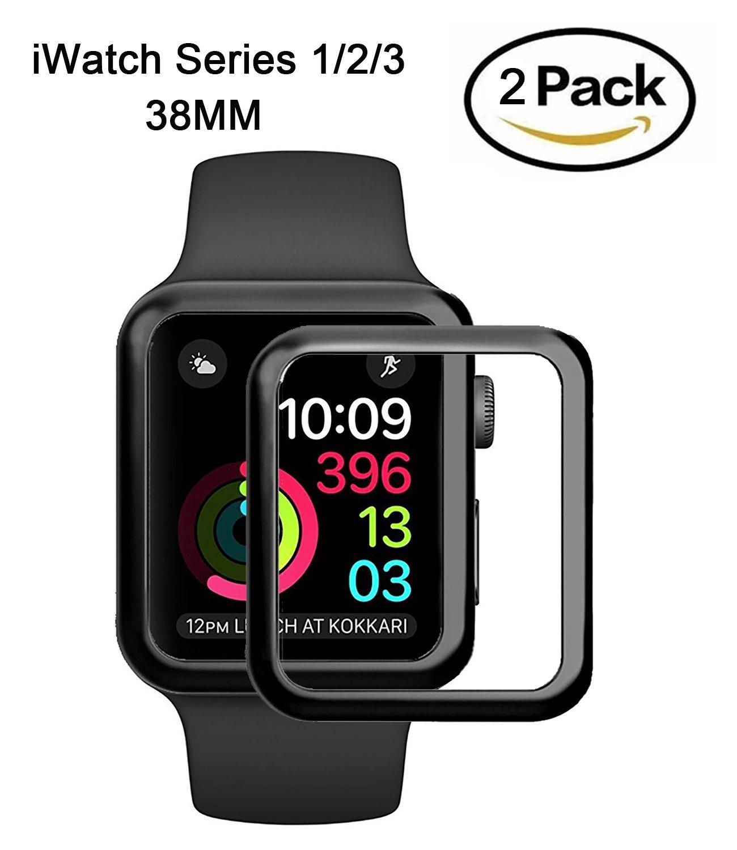 2 Pack Apple Watch Screen Protectors, Youniker 3D Full Coverage Apple Watch Screen Protector 38mm Tempered Glass Screen Protector for Apple iWatch 38mm (Series 1/Series 2/Series 3)