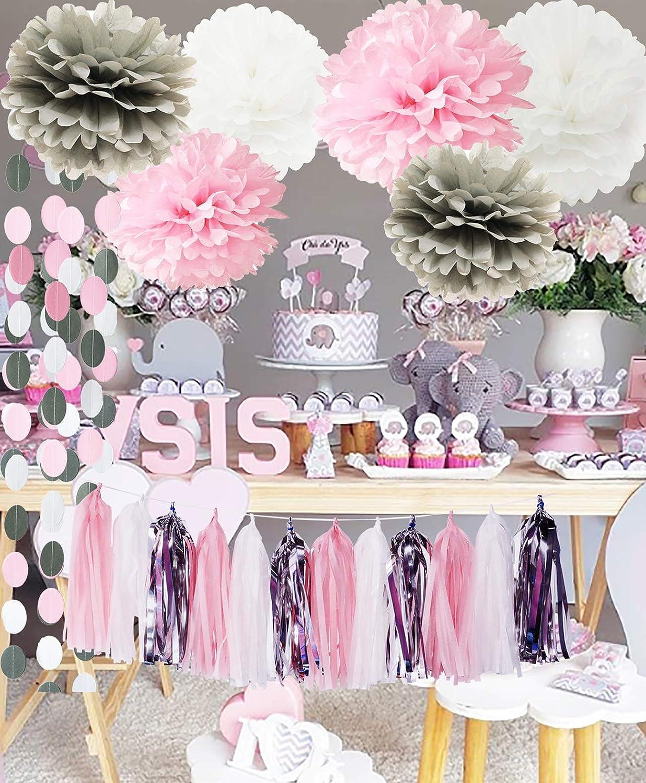 First Birthday Decorations Girl Baby Pink Grey Baby Girl Baby Shower/ Party  Decorations Tissue Paper Pom Pom Tassel Garland Circle Paper Garland Winter  ...