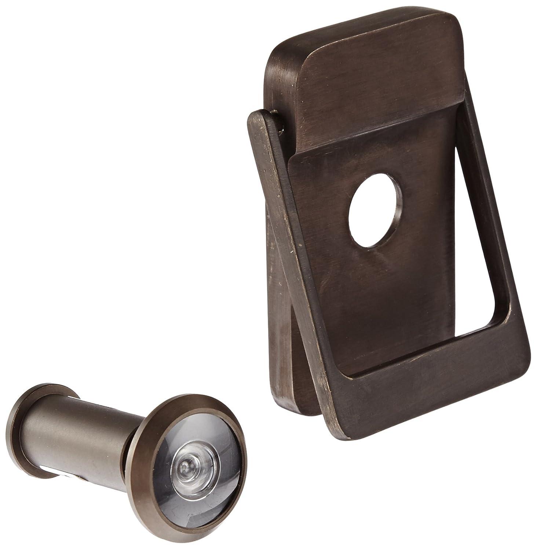 Rockwood bronze door knocker with door viewer 2 1 8 width x 3 height satin oxidized - Door knocker with peep hole ...