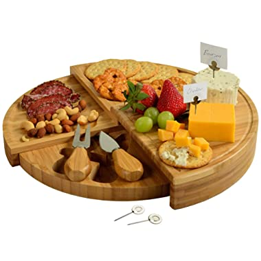 Picnic at Ascot Patented Bamboo Cheese/Charcuterie Board with Knives & Cheese Markers- Stores as a Compact Wedge- Opens to 13  Diameter- Designed & Quality Checked in USA