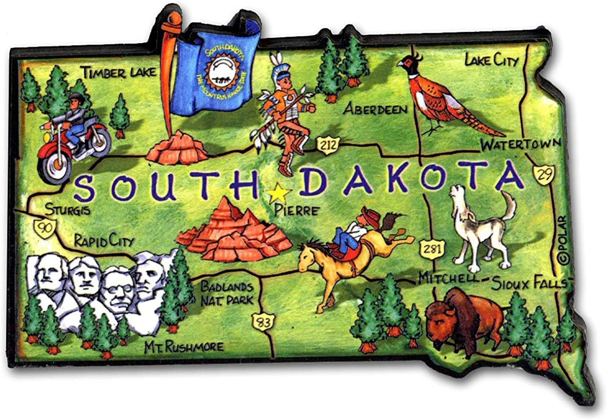 South Dakota Mt. Rushmore State Artwood Jumbo Fridge Magnet