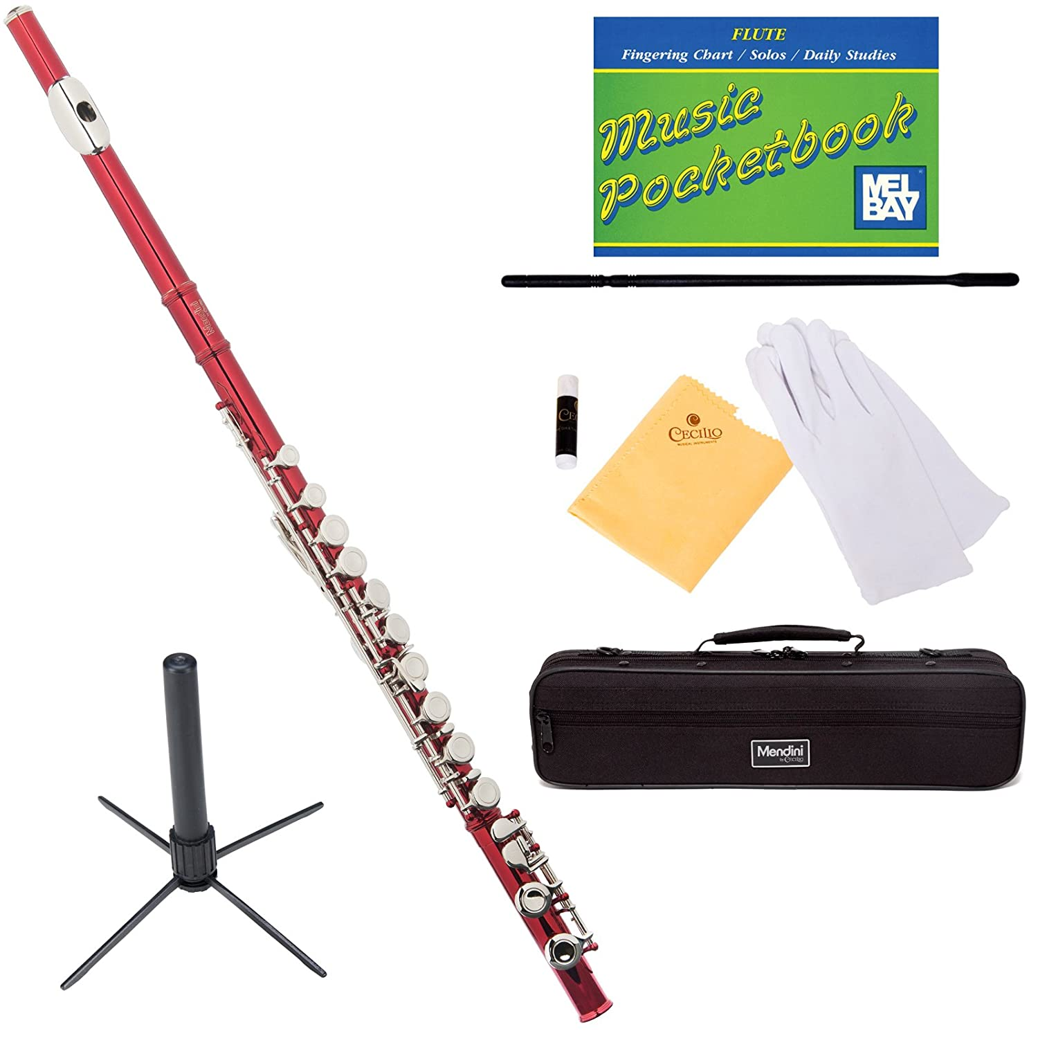 Mendini MFE-N+SD+PB Nickel Plated Closed Hole C Flute with 1 Year Warranty, Case, Stand, Cleaning Rod and Cloth, Joint Grease, and Gloves Cecilio Musical Instruments