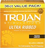 Trojan Ultra Ribbed Lubricated Condoms, 36 count