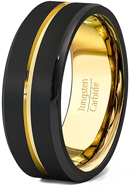 Duke Collections Mens Wedding Band Black 8mm Gold Tungsten Ring