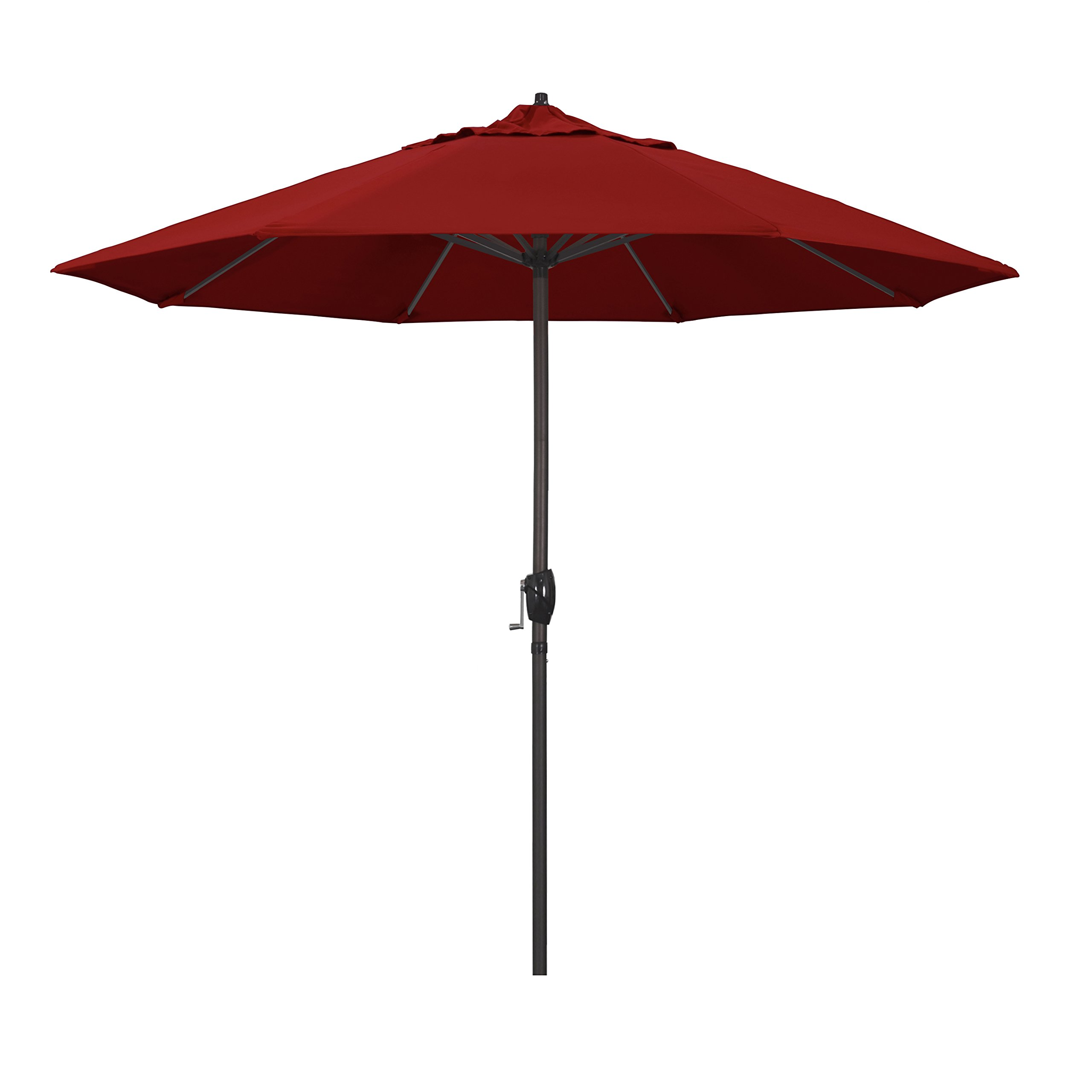 California Umbrella 9' Round Aluminum Market Umbrella, Crank Lift, Auto Tilt, Bronze Pole, Sunbrella Jockey Red Fabric
