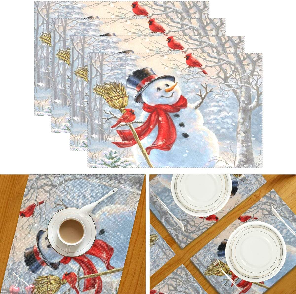 Wamika Winter Cardinals Snowman Placemats Christmas Snow Forest Table Mats Non-Slip Washable Heat Resistant Place Mats for Kitchen Dining Decor Tray Mat 12