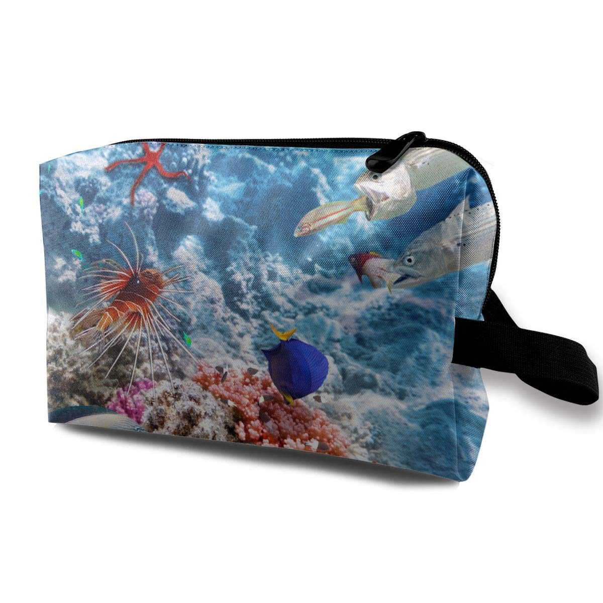 85a848b74ab4 Amazon.com: Travel Cosmetic Bag Cool Deep Ocean Fishes Unisex Makeup ...