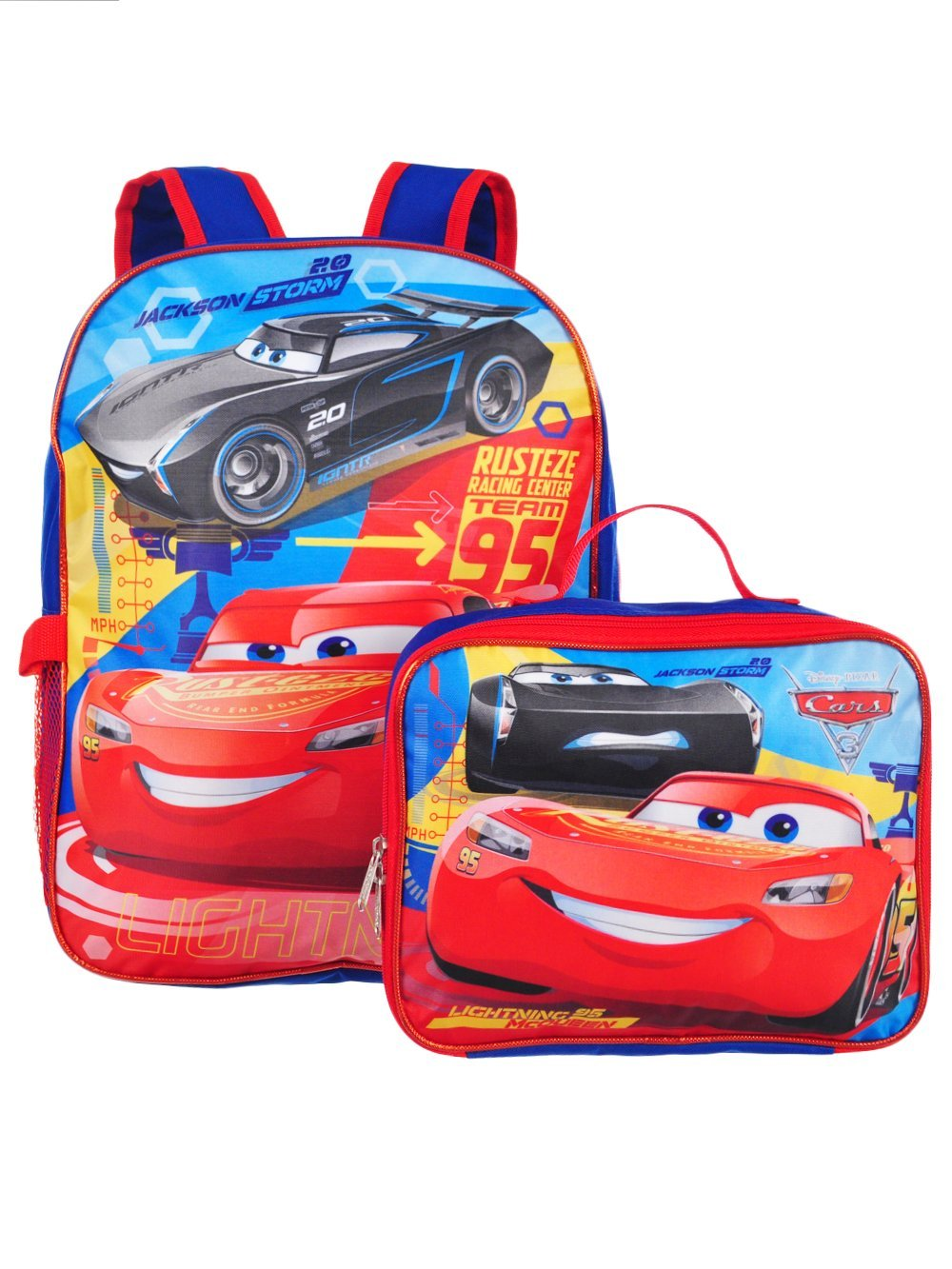 Cars Disney Pixar Jackson & Lightning McQueen 16 Backpack W/Detachable Lunch Box Group Ruz