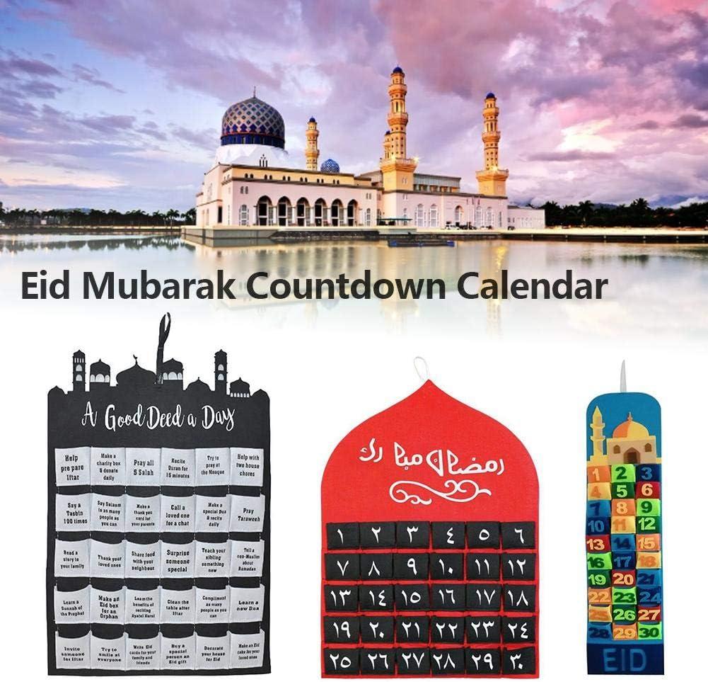 combnine 2020 Eid Hanging Countdown Calendars Handmade Felt Ramadan Advent Calendars Eid Mubarak Candy Gift Hanging Calendars Decor for Kid Gift Party Supplies