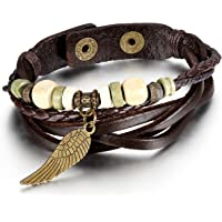 JewelryWe Angel Wing Multi-Strand Brown Leather Bracelet for Men Women Tribal Leather Wristband Wrap Bracelet