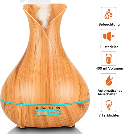 7-Color LED Yoga 3-Ajuste de Tiempo Fijo Difusor de Aceites Esenciales de Vapor Fr/ío con Control Remoto Oficina PEYOU Humidificador Ultras/ónico Aromaterapia 400ml Difusor de Aromas para Hogar