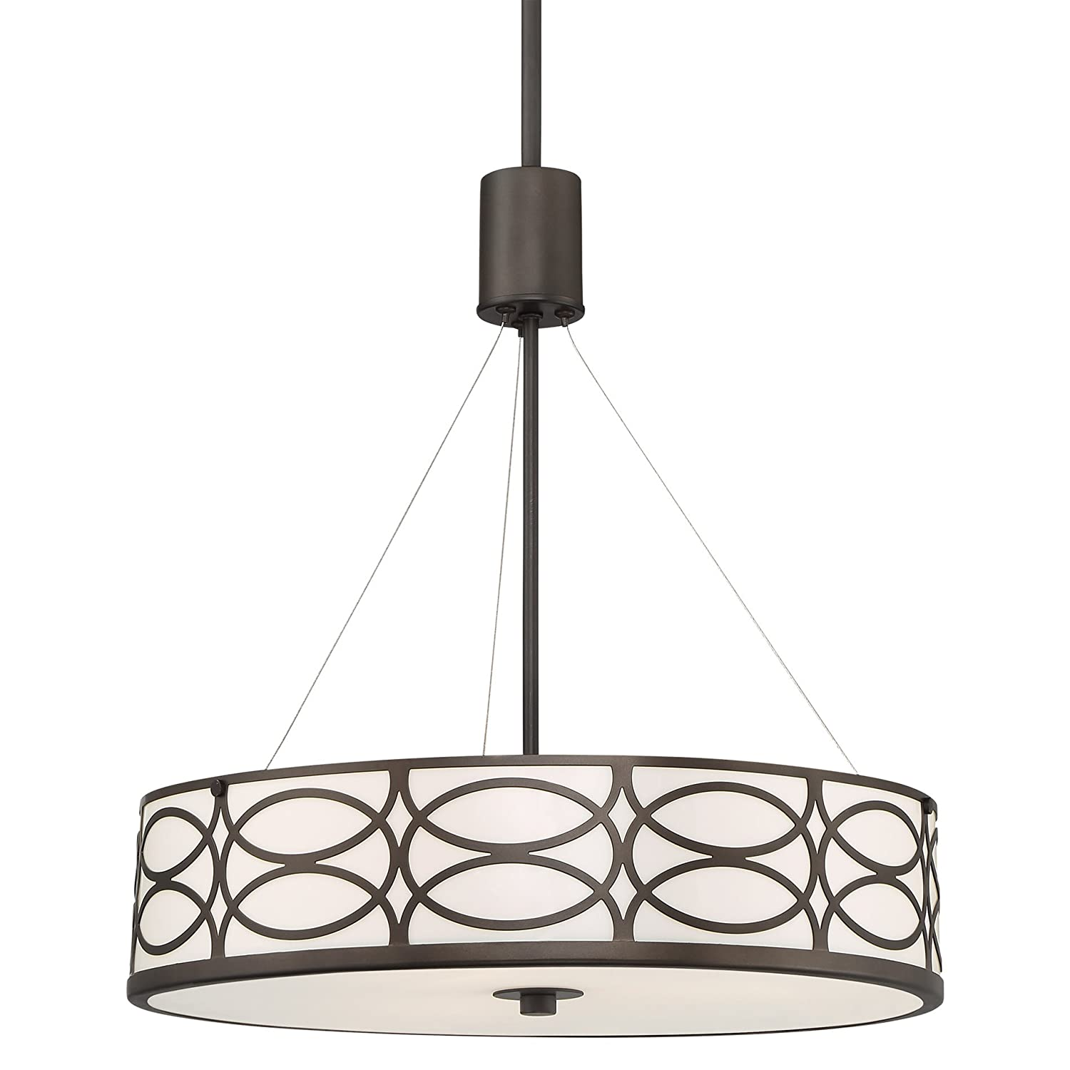 "Kira Home Sienna 18"" 3-Light Metal Drum Chandelier + Glass Diffuser, Oil-Rubbed Bronze Finish"