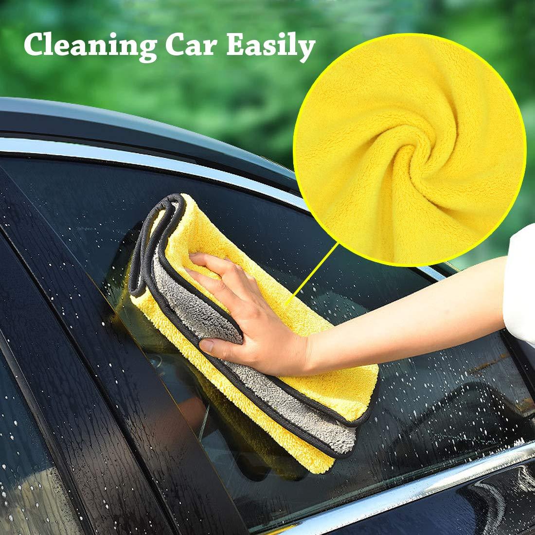 Hollyde Auto Asciugamano Panno in Microfibra Asciugamano ad Asciugatura Ultra-densa a Doppio Strato per lucidatura e Lavaggio della casa e Dettagli 2 Pacco