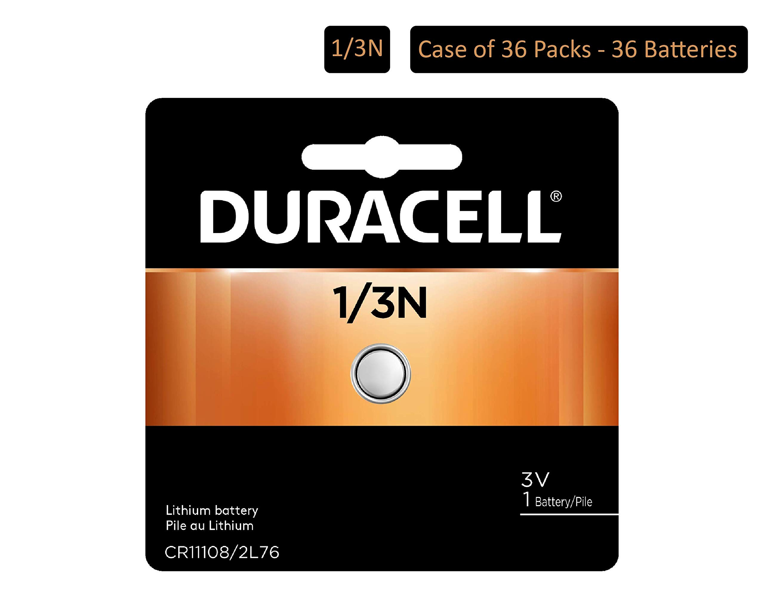 Duracell - 1/3N 3V Lithium Coin Photo Battery - long lasting battery - 1 count (Pack of 36)