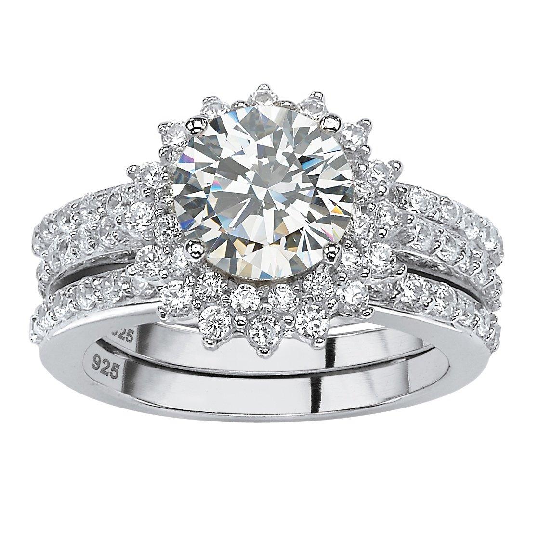 Round White Cubic Zirconia Platinum over .925 Sterling Silver 2-Piece Halo Jacket Bridal Set Size 8