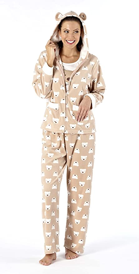 f60d16c00f8 Ladies Alexa 3- Peice Luxury SuperSoft Fleece Hooded Pyjama Set with Teddy  Design and Bear Motif (brown) 18-20  Amazon.co.uk  Clothing