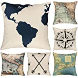 Faylapa 6 Pack Geography Theme Pillow Cases,Map Art Decorative Cushion Cover Pillowcase Home Decoration Sofa 18×18…