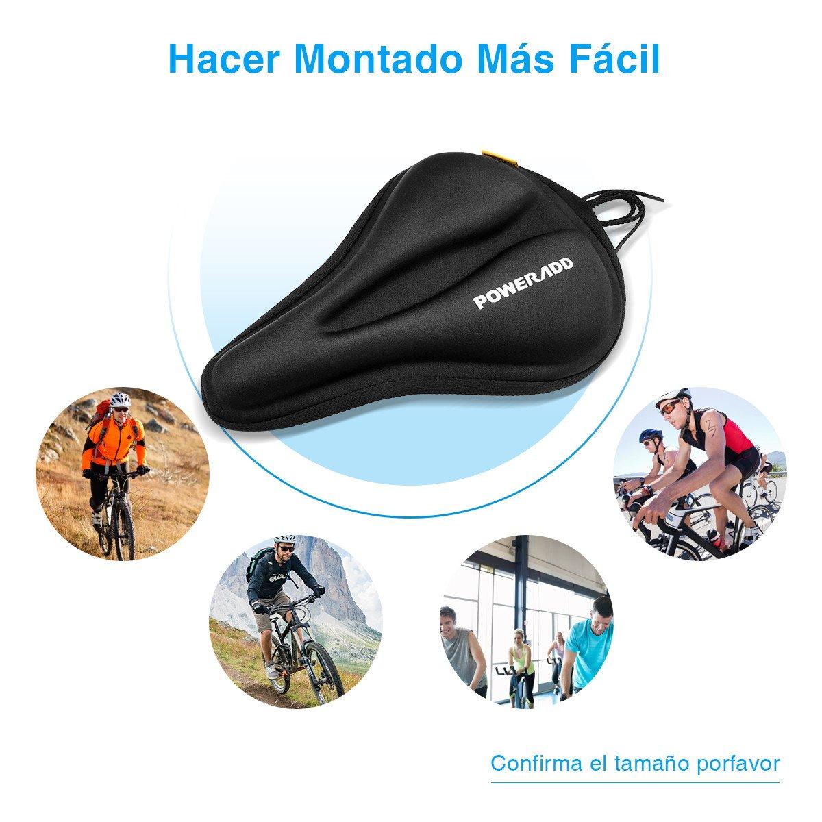 Poweradd Asiento de Bicicleta de Gel, Cubierta para Sillín de Bicicleta, Cómodo Acolchado, Cojín de Silicona de Bicicleta, para Bicicleta de Montaña-Negro: ...