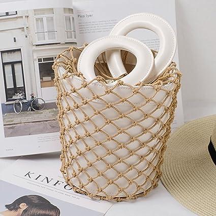 00f9f79038c5 The New Fishing Net Hemp Rope Woven Handbag Genuine Leather Bucket ...