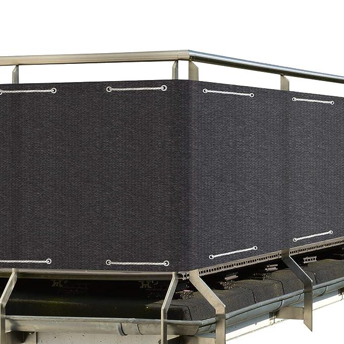 Sol Royal SolVision Balkon Sichtschutz HB2 HDPE blickdichte Balkonumspannung 90x500 cm - Anthrazit - mit Ösen und Kordel - in