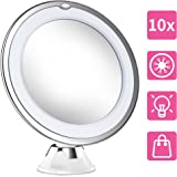 2018 NEWEST Professional 10X Magnifying Makeup Vanity Mirror With Lights, LED Lighted Portable Cosmetic Magnification Light up Mirrors with Locking Suction Cup for Home Bathroom Shower Travel
